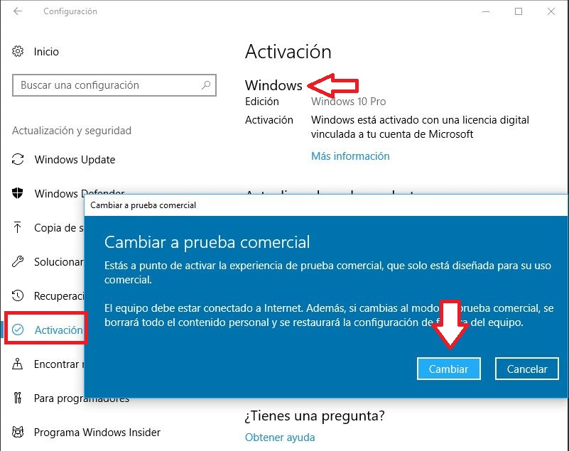 Truco Windows 10 demo comercial