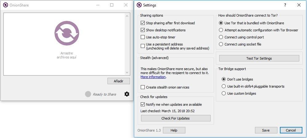 OnionShare compartir archivos anonimamente en Windows 10