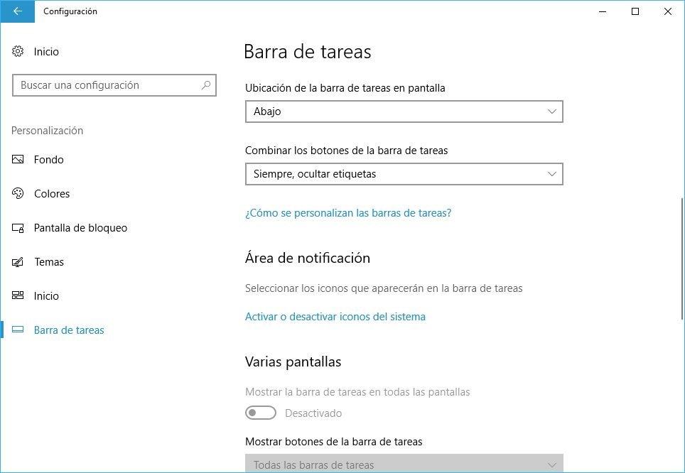 personalizar area de notificaciones Windows 10