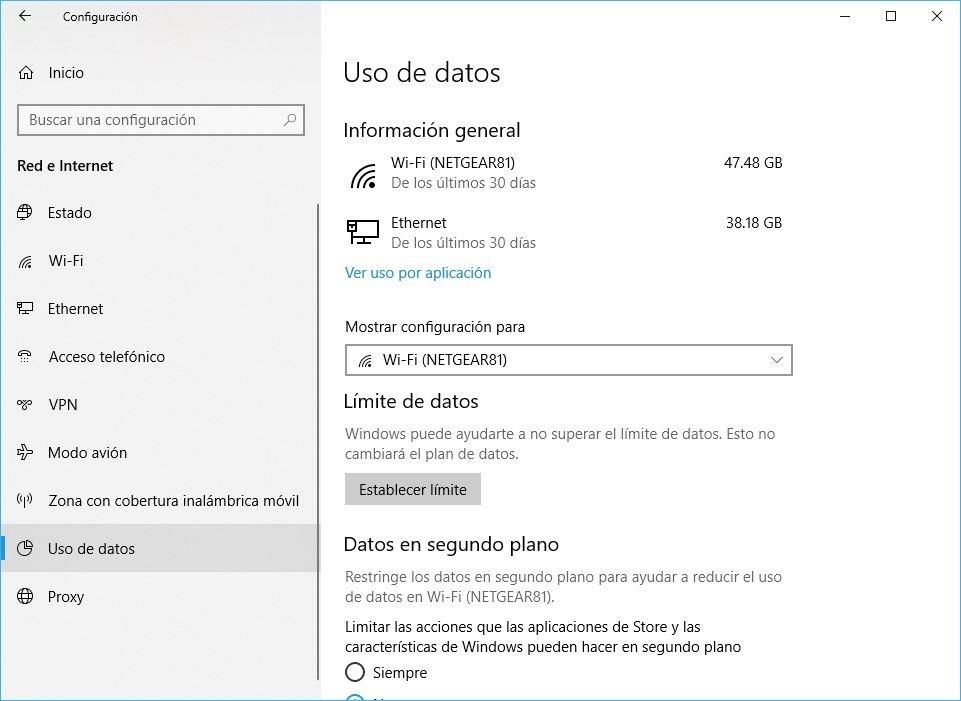 Windows 10 Build 1803 Uso de Datos