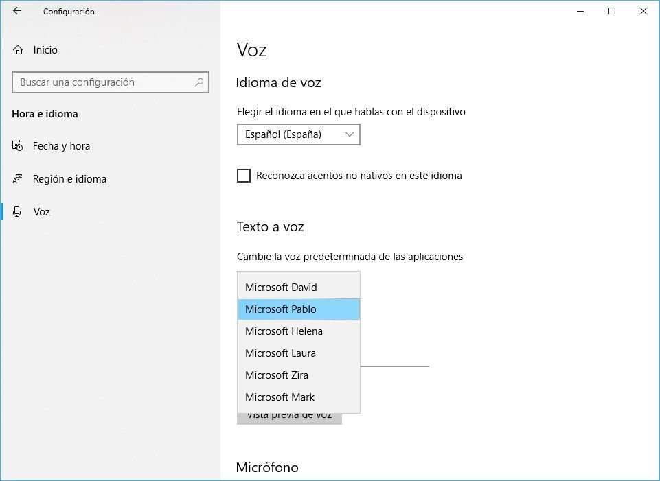 Windows 10 Build 1803 configurar voz