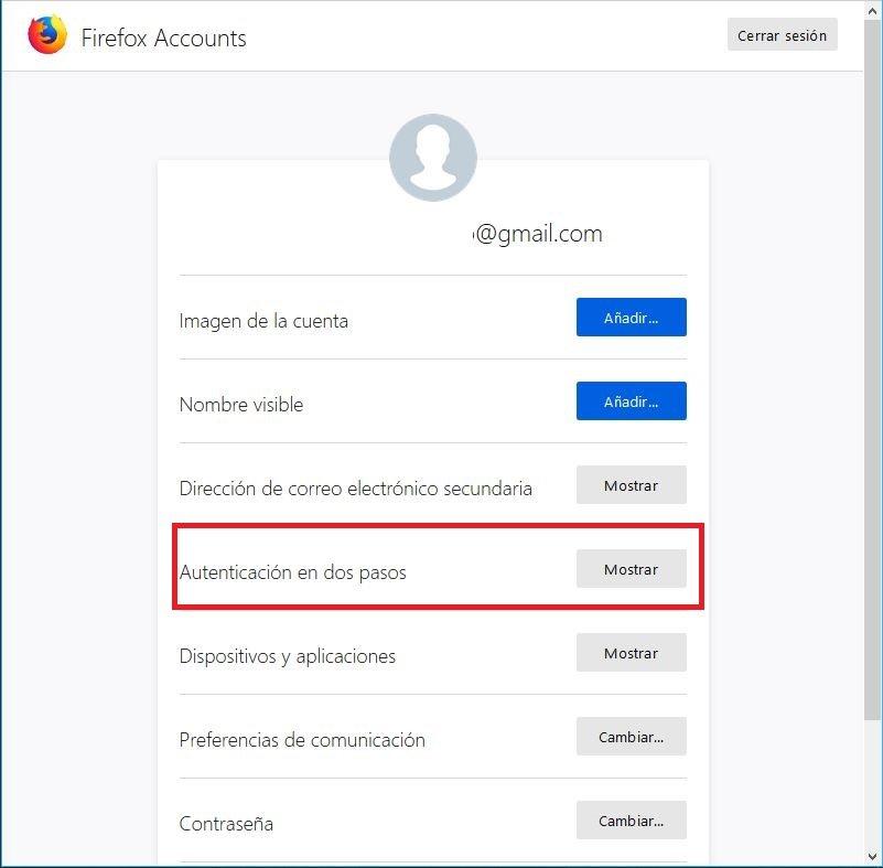 Doble verificacion Firefox