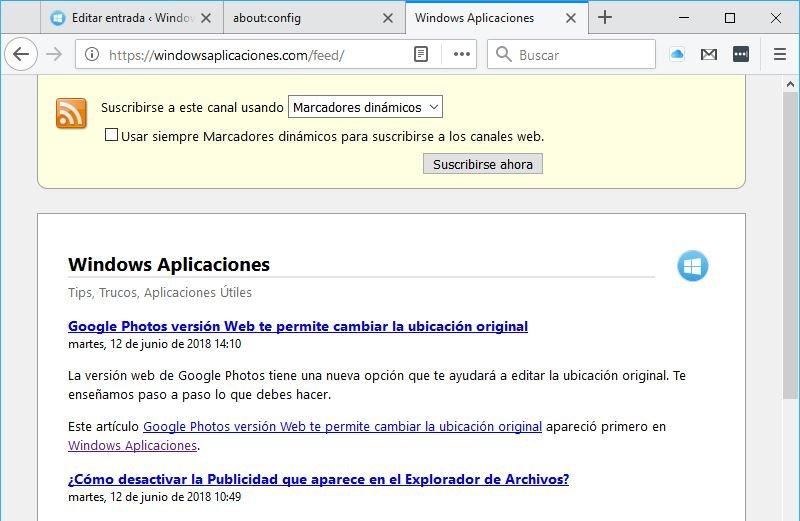 feed Rss en Mozilla Firefox
