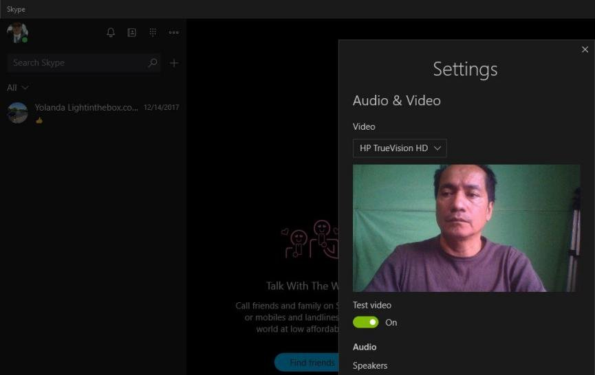 configuracion Skype en Windows 10