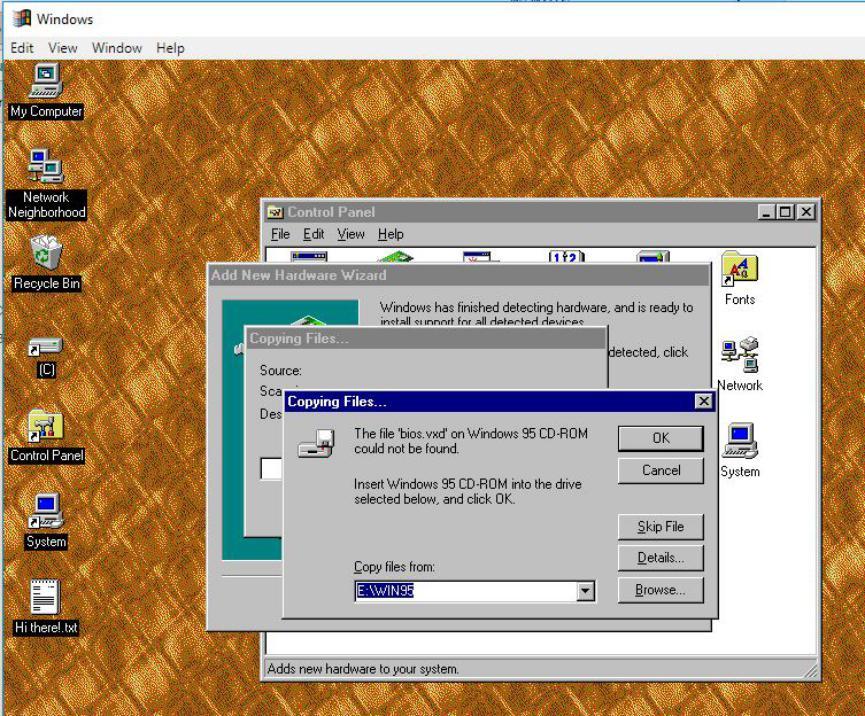 Instalar Windows 95 en Windows 10