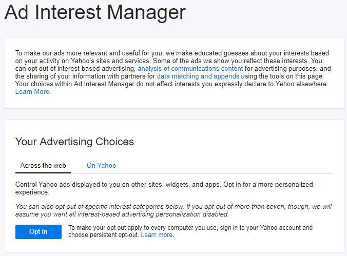 publicidad en Yahoo Mail