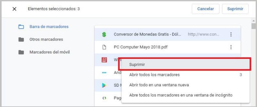 eliminar Marcadores en Chrome