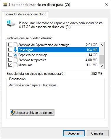 Liberador de Espacio windows 10 descargas
