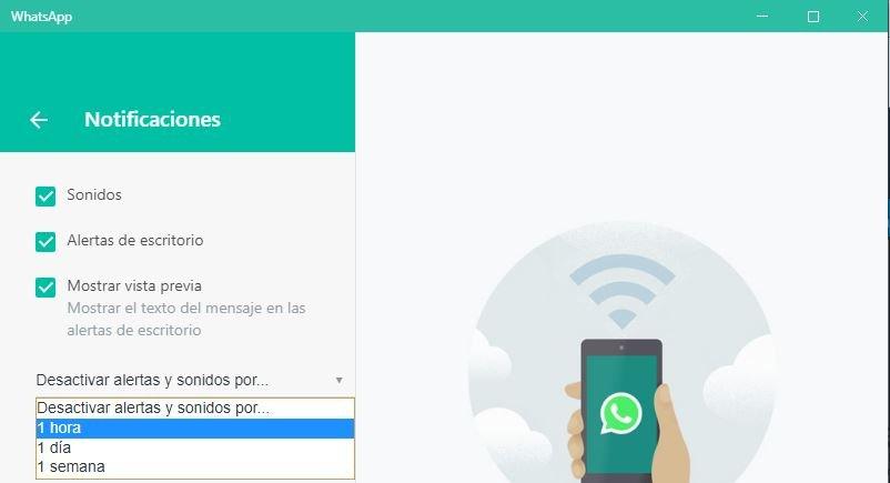 notificaciones WhatsApp Desktop
