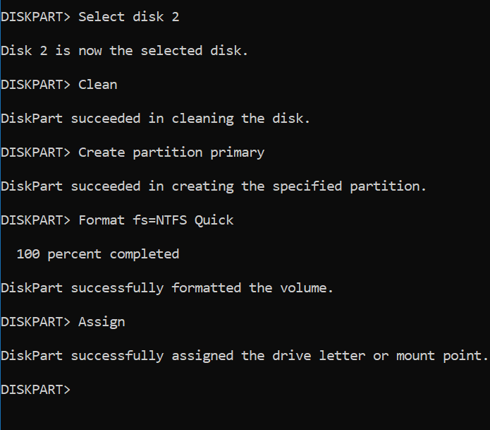 Format USB drive by CMD