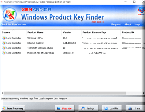 Product Key Finder for Windows 10 License Free from XenArmor
