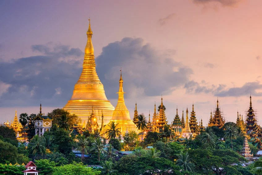 47356153 - yangon, myanmar view of shwedagon pagoda at dusk.