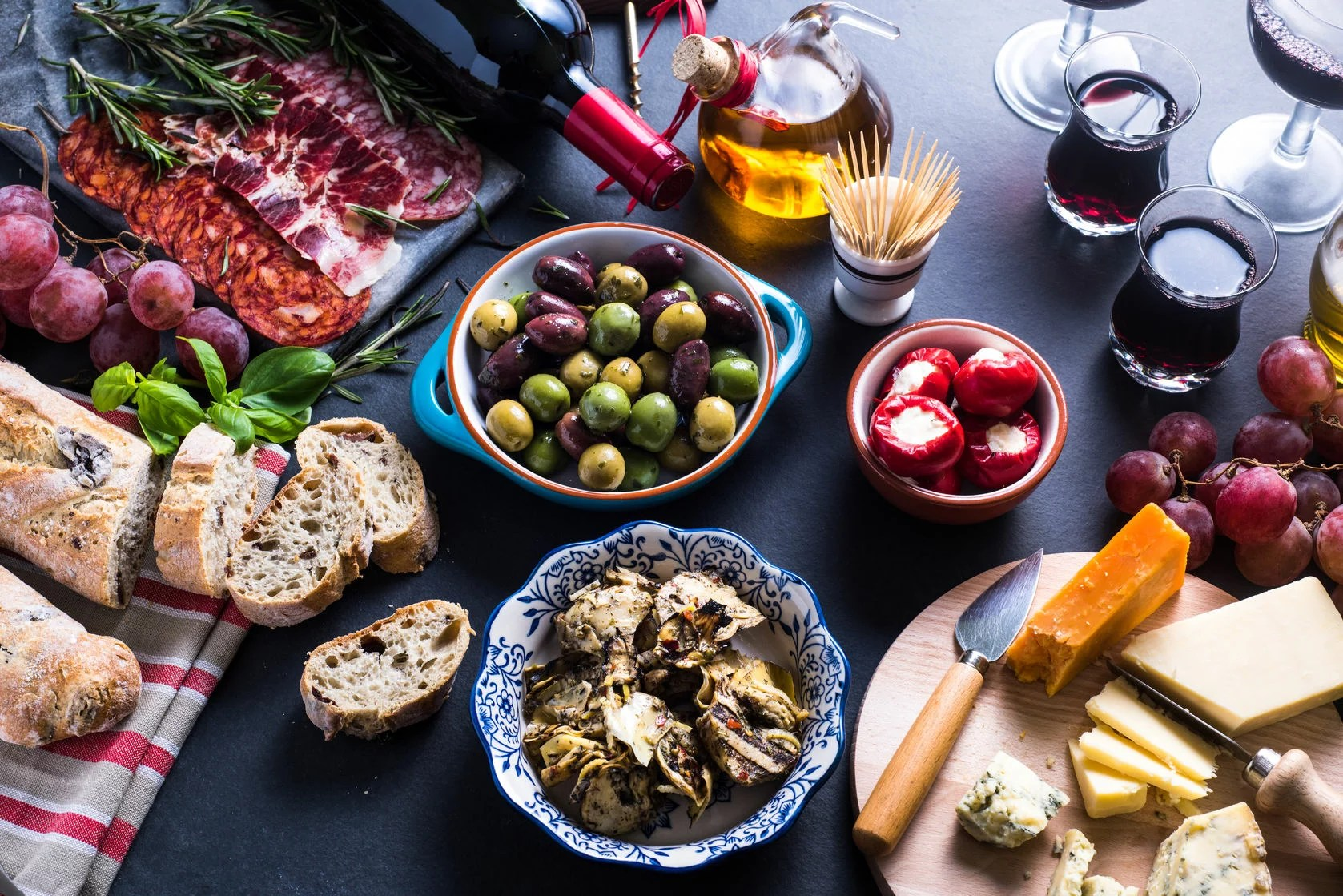 47857679 - traditional tapas selection from above