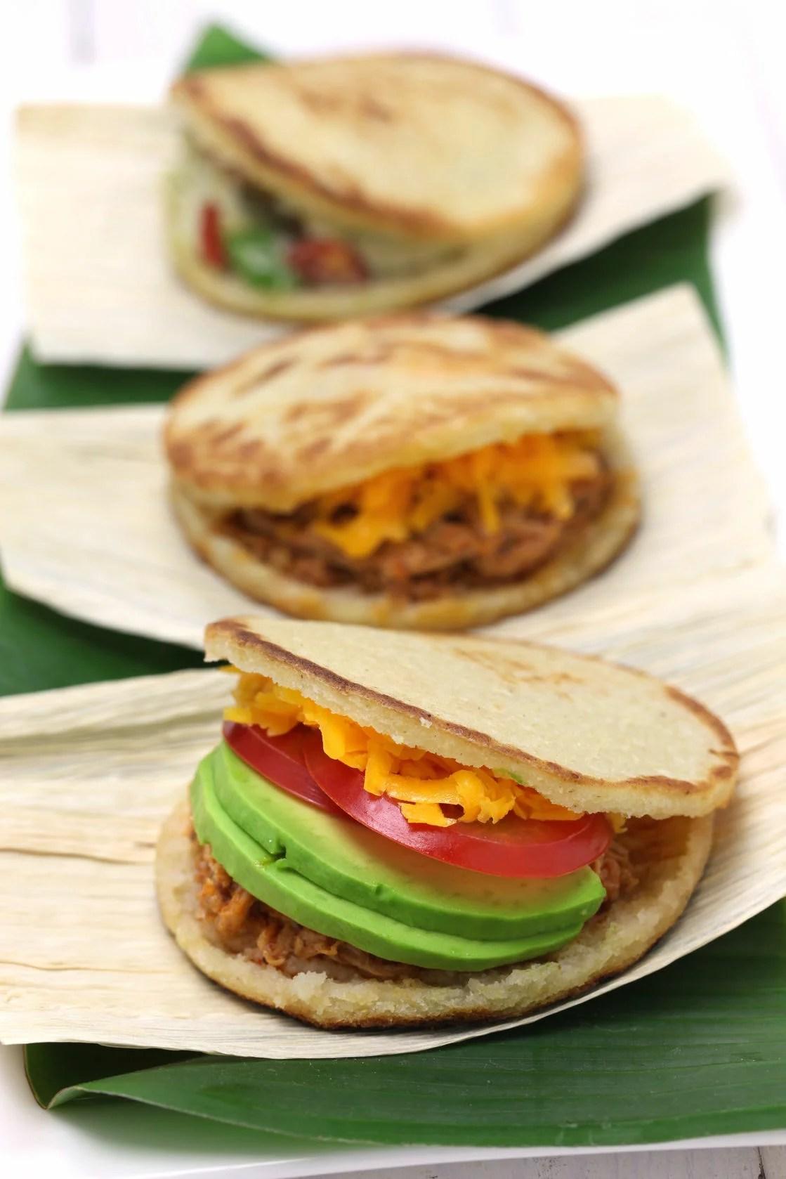 44218501 - arepas, venezuelan-colombian corn bread sandwich