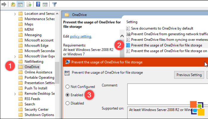 Disable OneDrive with Local Group Policy Editor