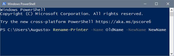 powershell rename printer windows 10