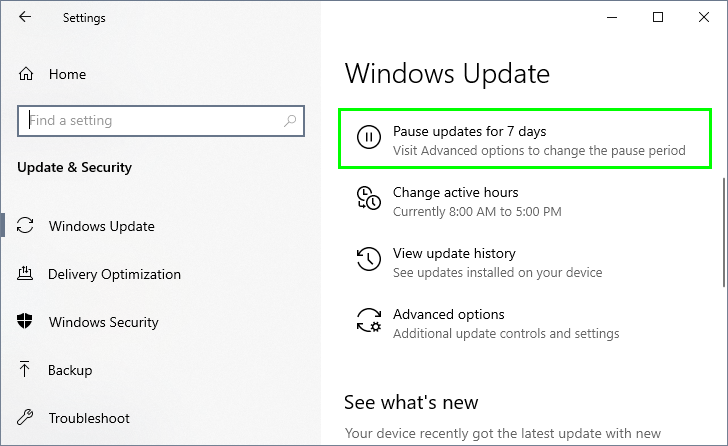 pause updates for 7 days windows update