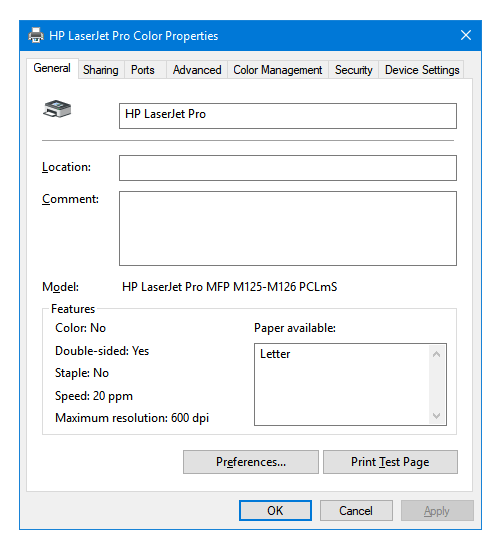 rename printer windows 10