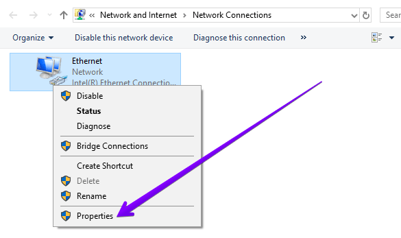 ethernet properties err_connection_closed