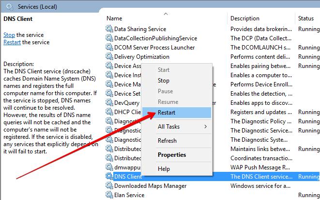 err_connection_closed restart dns client