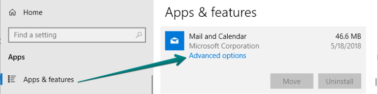 mail and calendar advanced options