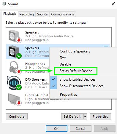 set default device