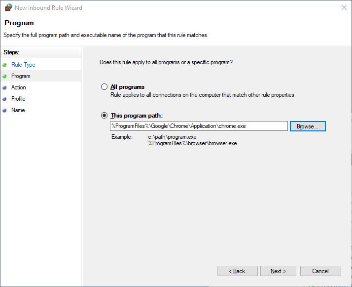 add exclusion windows firewall