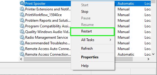 restart error printing