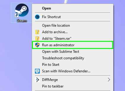 run as administrator steam