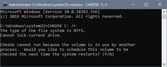 chkdsk c: /r