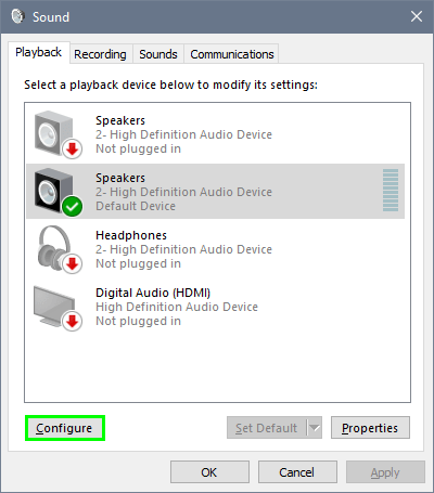 configure speakers