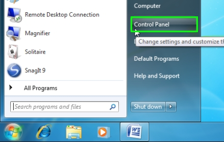 start menu control panel windows 7