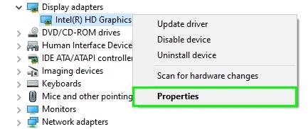 display adapter properties