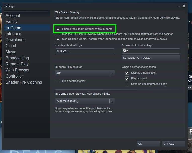 enable the steam overlay while in-game