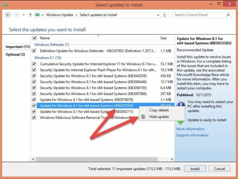 hide update windows 8