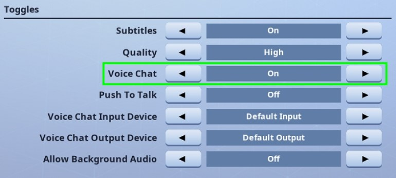 voice chat enable fornite