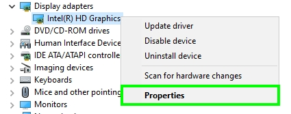 graphics card properties