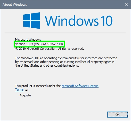 windows 10 version about