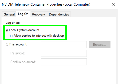 allow services to interact with desktop nvidia telemetry