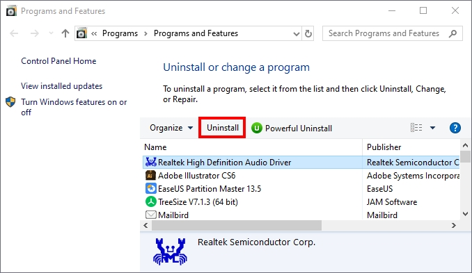 uninstall realtek audio manager