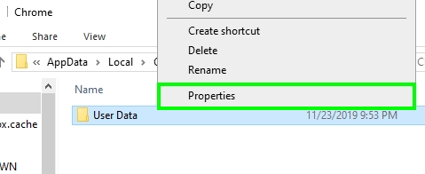 user data properties