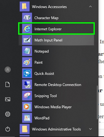 internet explorer start menu