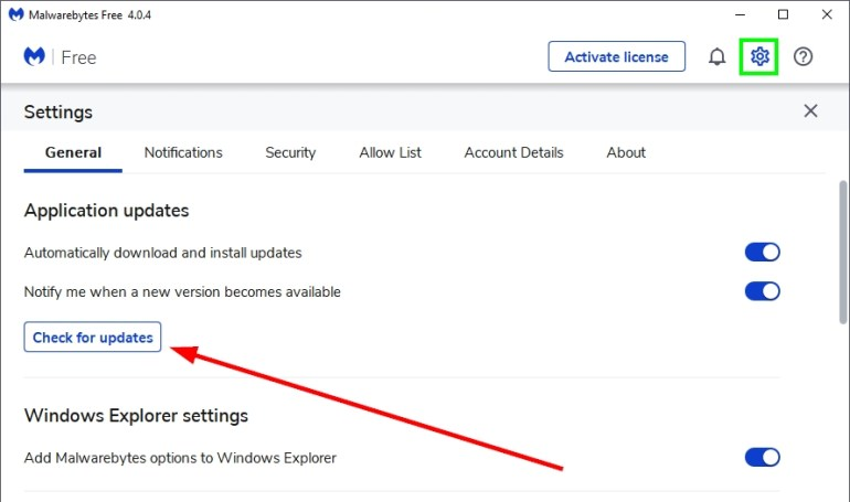 check for updates malwarebytes
