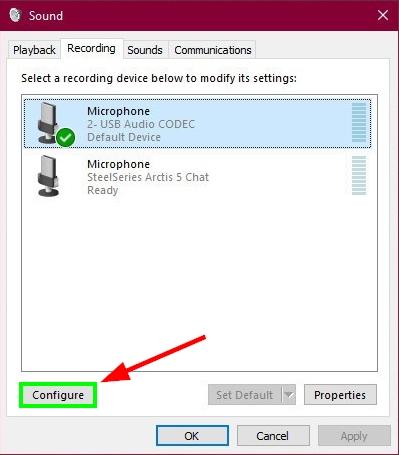 configure microphone