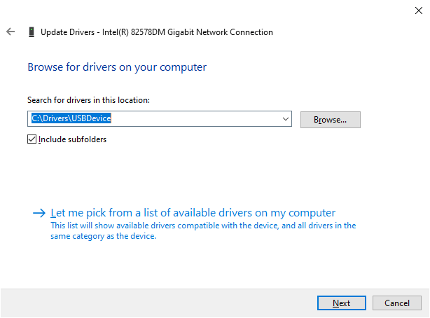 browse drivers manually