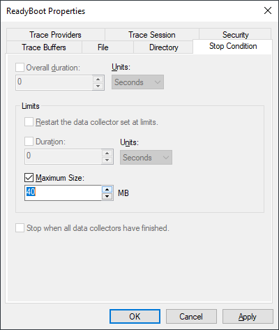 increasr Startup Event Trace Sessions file size