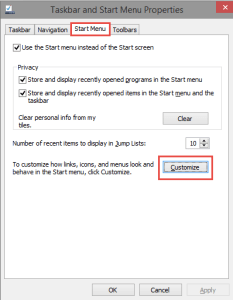 Windows 10: Properties Start Menu How-to change the Pinned Apps in Start Menu in Windows 10 pinned apps