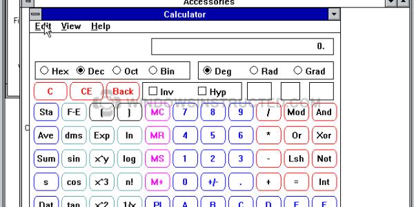 Windows 3.1 Calculator
