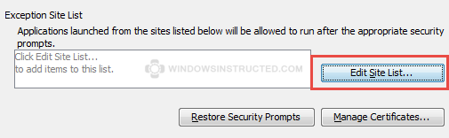 Java - Edit Site List... Your security settings have blocked a local application from running Your security settings have blocked