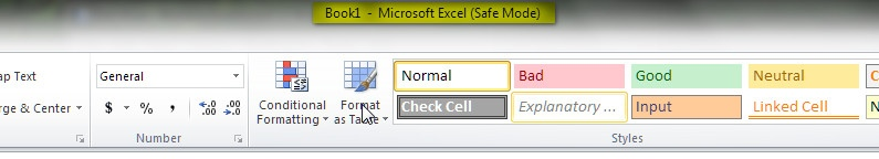 excel safe mode vs normal